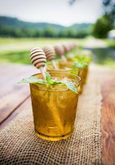 Jack Daniel's Honey Mint Juleps w/ fresh mint sprig & honey dipper stir…