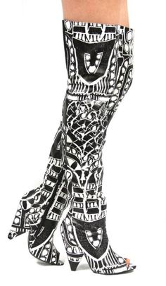 Black and White RiRi Boots