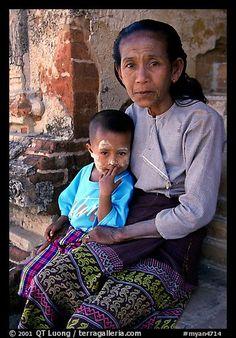 Older burmese woman and child. Bagan, Myanmar
