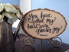 "Greater Joy // Handlettering // 9""x11"" Wooden Sign"