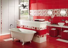 Red and White Bathroom Decor . 24 New Red and White Bathroom Decor . 39 Cool and Bold Red Bathroom Design Ideas Latest Bathroom Designs, Modern Bathroom Design, Bathroom Interior Design, Red Bathroom Decor, Bathroom Paint Colors, Colorful Bathroom, Bathroom Ideas, Bathroom Accessories, Bath Paint