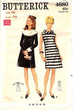 Vintage 1960s Butterick Sewing Pattern Womens A-LINE DRESS 4680 Sz 16 B38 UNCUT | eBay