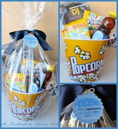 Adding the plastic gift wrap Diy Birthday Gifts For Friends, Friend Birthday Gifts, Birthday Presents, Love Gifts, Diy Gifts, Movie Night Gift Basket, Theme Noel, Candy Bouquet, Original Gifts