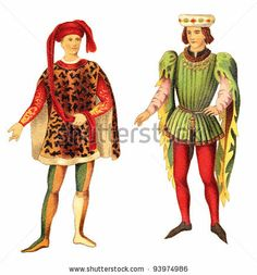 9. 1300-1500 The man on the right is wearing a hat mad from a drape hood with parti-colored hose and a cote-hardie. The man on the right is wearing poulaine shoes with a wide-shouldered jacket.