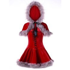 Red 2xl Ugly Christmas Velvet Faux Fur Panel Cape Dress ($27) ❤ liked on Polyvore featuring dresses, red christmas dress, christmas dresses, mini dress, short white dresses and red velvet dress