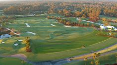 The expanded practice area at TPC Sawgrass features a replica of the course