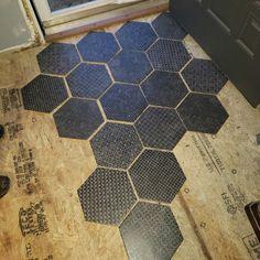 EliteTile Lunastone Hexagon x Porcelain Field Tile Floor and Tile in Black/Gray Hallway Flooring, Wood Tile Floors, Wall And Floor Tiles, Kitchen Flooring, Floor Design, Tile Design, House Design, Tile To Wood Transition, Brick Construction