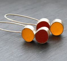 Stacked Resin and Silver Earrings Red Yellow by fugudesigns