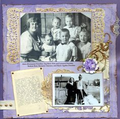 The Donoher Family...a lovely and unusual purple color palette and distressed lace framing bring interest to a simple layout.