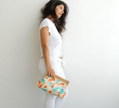 Hey, I found this really awesome Etsy listing at https://www.etsy.com/listing/166279174/coral-turquoise-vegan-clutch-fashion