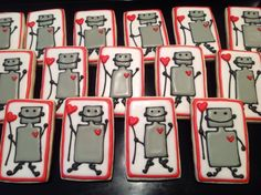 Robot Valentines - Decorated Sugar Cookies by I Am The Cookie Lady