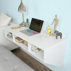 Haotian wall-mounted table desk,home office desk workstation,floating desk with storage Wall Mounted Computer Desk, Wall Mounted Table, Wall Desk, Dressing Table Storage, Desk Storage, Home Office Desks, Home Office Furniture, Floating Desk, Bunk Bed Designs