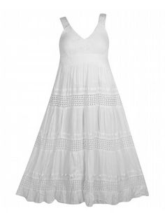 White Wonder Maxi Dress $45  #alight #plussize #plussizefashion #plussizeclothing #spring #trend #trendy #cute #dress #maxi #maxidress #plussizedress #plussizemaxidress #white   Sleeveless maxi dress has a v-neck bodice with sheer crochet straps, high wait, and A-line skirt. Lined. Elastic upper back. Somewhat sheer.
