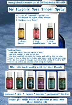 Young Living Essential Oils #Sore #Throat Spray  LEARN MORE and ORDER HERE: HeavenScentOils4U... #yleo #youngliving #essentialoils #heavenscentoils4u #natural #remedies #frequencies #essential #oils