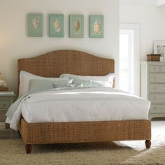 Awesome Excellent Brown Wicker Rattan Mid Century Queen Bed Frame With Curved Stylish Headboard And Brown Lacquer Wooden Bun Feet Also Equipped White Bed Linen Mattress, Winsome Mid Century Bed Frame Ideas With Best Interior Design: Bedroom, Furniture, Interior