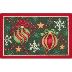 Christmas Ornaments Hooked Rug 2' x 3'