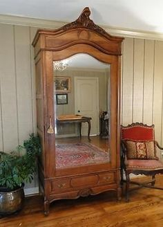 French Antique Louis XV Single Door Rosewood Armoire Wardrobe Linen Press  Carved