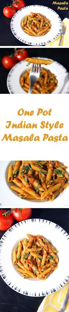 Vegan One Pot Indian Style Masala Pasta - An Indian twist to Italian Pasta. This Masala Pasta has a bold flavor and is really convenient and easy to prepare, for a quick and delicious dinner. Veg Recipes, Indian Food Recipes, Asian Recipes, Vegetarian Recipes, Cooking Recipes, Healthy Recipes, Ethnic Recipes, Easy Recipes, Recipies