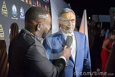 CAPE VERDE, PRAIA - MAY 06: President of Cape Verde (right), Jorge Carlos Almeida Fonseca, gives interviews at the opening of the Cape Verde Music Awards 2017, 6 May 2017 in Cape Verde, Praia.