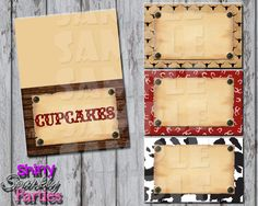 Printable Cowboy Western Food Tent Signs Editable (Digital File Only)