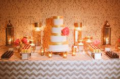 Coral Gold Peach Wedding Inspo - Lady Liberty Events - Read More on SMP: http://stylemepretty.com/vault/gallery/68691