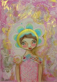 Pink and Turquoise painting.Mixed media Girl painting. Original painting.collage girl. by TiarniHeartsArt on Etsy