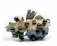 Helen Britton  Brooch: Mieke's Garden 2006  Gold, silver, diamonds, paint