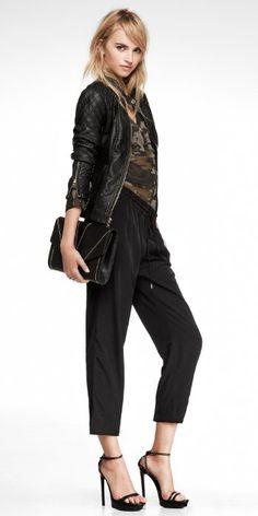 Women's (Minus the) Leather Jacket, Portofino Shirt & Drawstring Track Pant #EXPRESS