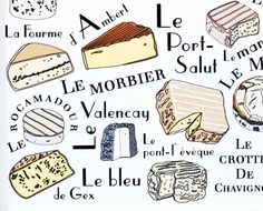 Kitchen Wall Art Print 'French Cheeses' art for kitchen - 11x14 art print Camembert Roquefort Food and Meat Series GeraldineAdams. $32.00, via Etsy.