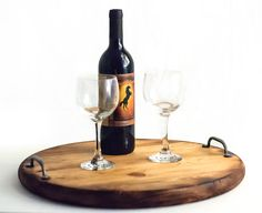 Your next wine pairing event will have a unique and inviting flare with this aged wine barrel styled serving tray. You can also make it one-of-a-kind when you have us add your name and special year, such as an anniversary year.