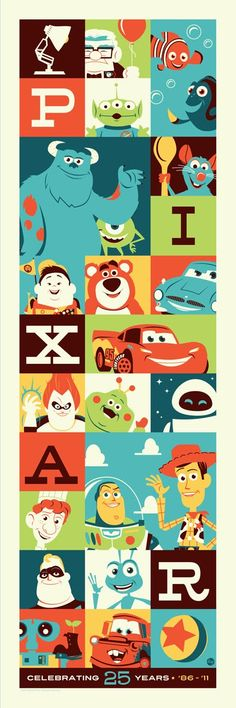 The image was created by Dave Perillo who is also a huge fan of the Pixar films and was thrilled to do this piece for Acme Archives Direct.    25 Years of Pixar ($50) sold out today. My 12″ x 36″ limited edition silkscreen print will grace the walls of my office and join my cherished Mondo prints. The 150 piece hand-numbered edition came with a Certificate of Authenticity and I was lucky to get # 105.
