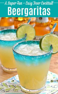 Easy Beergaritas recipe, a refreshing beer cocktail combining your two fave party drinks, beer and margaritas! Make a pitcher of Beergaritas with three simple ingredients: tequila, limeade, and Corona beer. Garnish these beertails with limes and salt Easy Alcoholic Drinks, Party Drinks Alcohol, Alcohol Drink Recipes, Fun Drinks, Simple Tequila Drinks, Beverages, Beer Cocktail Recipes, Summer Drink Recipes, Beer Recipes