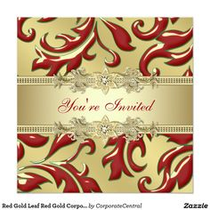 Red Gold Leaf Red Gold Corporate Christmas Party 5.25x5.25 Square Paper Invitation Card