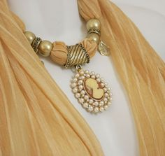 Pendant Scarves Necklace Scarf With by RavensNestScarfJewel, $28.00