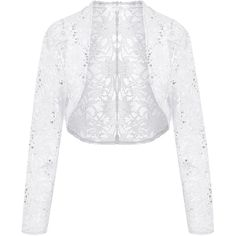 Meaneor Womens Long Sleeves Lace Crochet Bolero Crop Cardigan Shrug... ($9.99) ❤ liked on Polyvore featuring tops, cardigans, crochet shrug, white lace cardigan, lace shrug, long sleeve lace top and white shrug