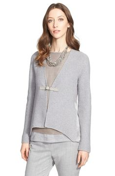 Free shipping and returns on Fabiana Filippi Suede Trim Popcorn Knit Cardigan at Nordstrom.com. Suede trim buckling the front and hammered silk insets augmenting the sides lend luxe textural contrast to a tactile cardigan made from a cozy blend of wool, silk and cashmere.