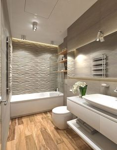 Plain wall tiles with the feature tile in the shower