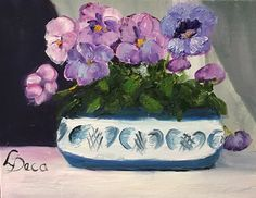 """Pansies   8"""" x 10""""   Oil Painting   If Interested, email me at lamerledeca@gmail.com"""