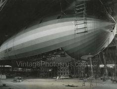 1933 Photo final construction of US Navy USS Macon Airship ZRS5 @ Arkon Ohio
