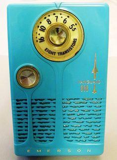 "Emerson 888 ""Vanguard"" 8-Transistor AM Radio, Made in the USA, Turquoise Plastic, Circa 1958."