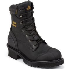 "55057 Chippewa Men's Heavy Duty IQ 8"" Work Loggers - Black"
