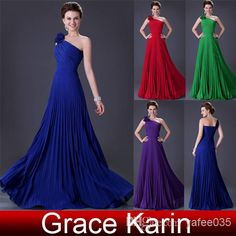 $38  -  GK Stock Pleated Chiffon One Shoulder Prom Dresses Floor Length A-Line Evening Gowns CL3467  Piece on Yafee035's Store   DHgate.com