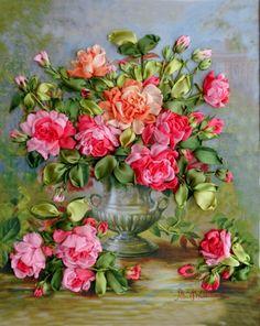 Gallery.ru / розовые розы в серебряной вазе - Любимые розы - silkfantasy