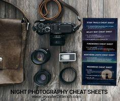 Night Photography Cheat Sheets | Jennifer Ditterich Designs