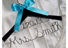 Custom wedding dress hanger with 2 lines, bridal hanger with new name and wedding date - TheWeddingMile.com