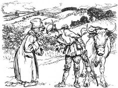 """""""But they aren't common beans,"""" put in the queer little old man, and there was a queer little smile on his queer little face. """"If you plant these beans over-night, by morning they will have grown up right into the very sky."""" - Arthur Rackham's illustration for Jack and the Beanstalk"""