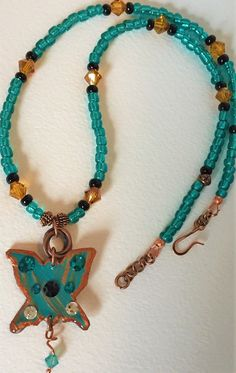 Small Butterfly Choker in Turquise and Copper by MartinArtandBeads