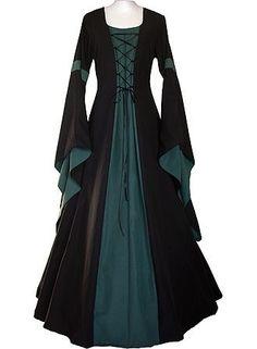 Meilidress Women Medieval Dress Lace Up Vintage Floor Length Cosplay Retro Long Dress Renaissance Costume, Medieval Costume, Renaissance Clothing, Medieval Fashion, Medieval Dress Pattern, Medieval Gown, Pattern Dress, Costume Roi, Pretty Dresses