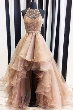 Champagne round neck high-low prom dresses, evening dresses, unique cute prom gown, prom picture. Women dress
