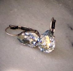 Swarovski crystal 14X10mm crystal blue shade pear drop earrings by CrystallizedByLena, $20.00